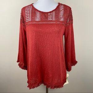 NWT EyeShadow Orange Lace Crochet Fringe Sweater